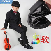 Boys black single shoes cgh winter plus velvet British wind pupil flower boy performance shoes men's children's shoes