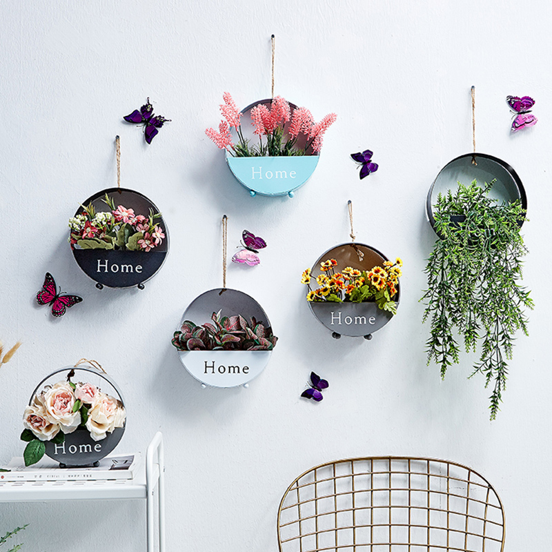 Ins Scandinavian Creative Coffee Shop Wall Decoration Hanging Dry Flower Basket Wall Hanging Beauty Salon Iron Wall Hanging Flower Pot