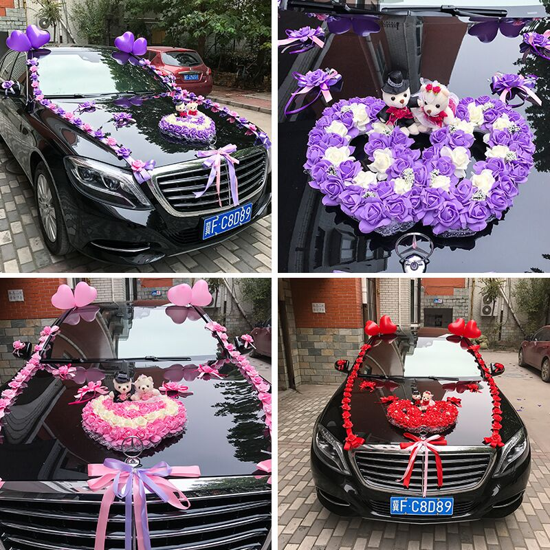 Wedding car flower wedding supplies float decoration float set wedding car head flower main car side car