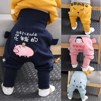 Childrens baby plus velvet pants spring and autumn paragraph 1 year old 2 male and female baby high waist pants 6 months 8 cotton PP pants