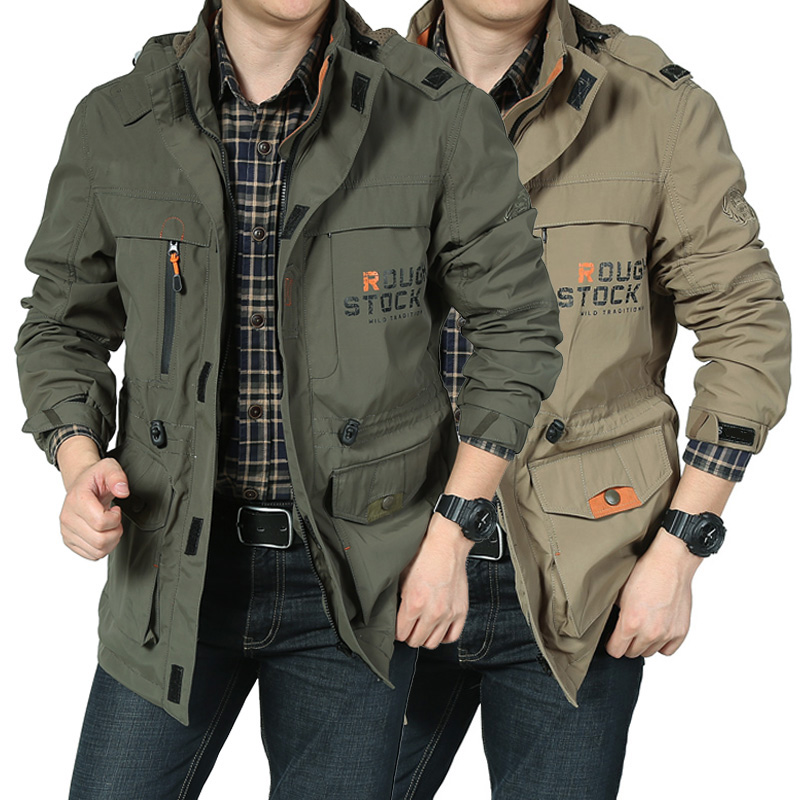 Men's coat in charge of men's coat in spring and autumn 2019 winter coat with plush and thickened casual tooling medium and large size jacket for men