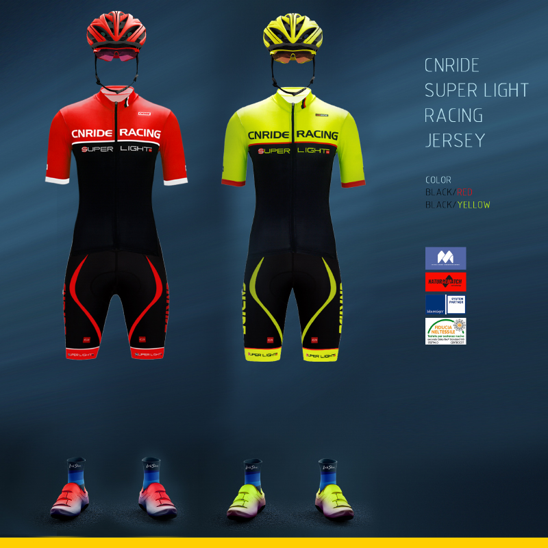 CR Super Light Professional Cycling Suit Summer Men's and Women's New Highway Mountain Bike Black Red Sports Belt Suit