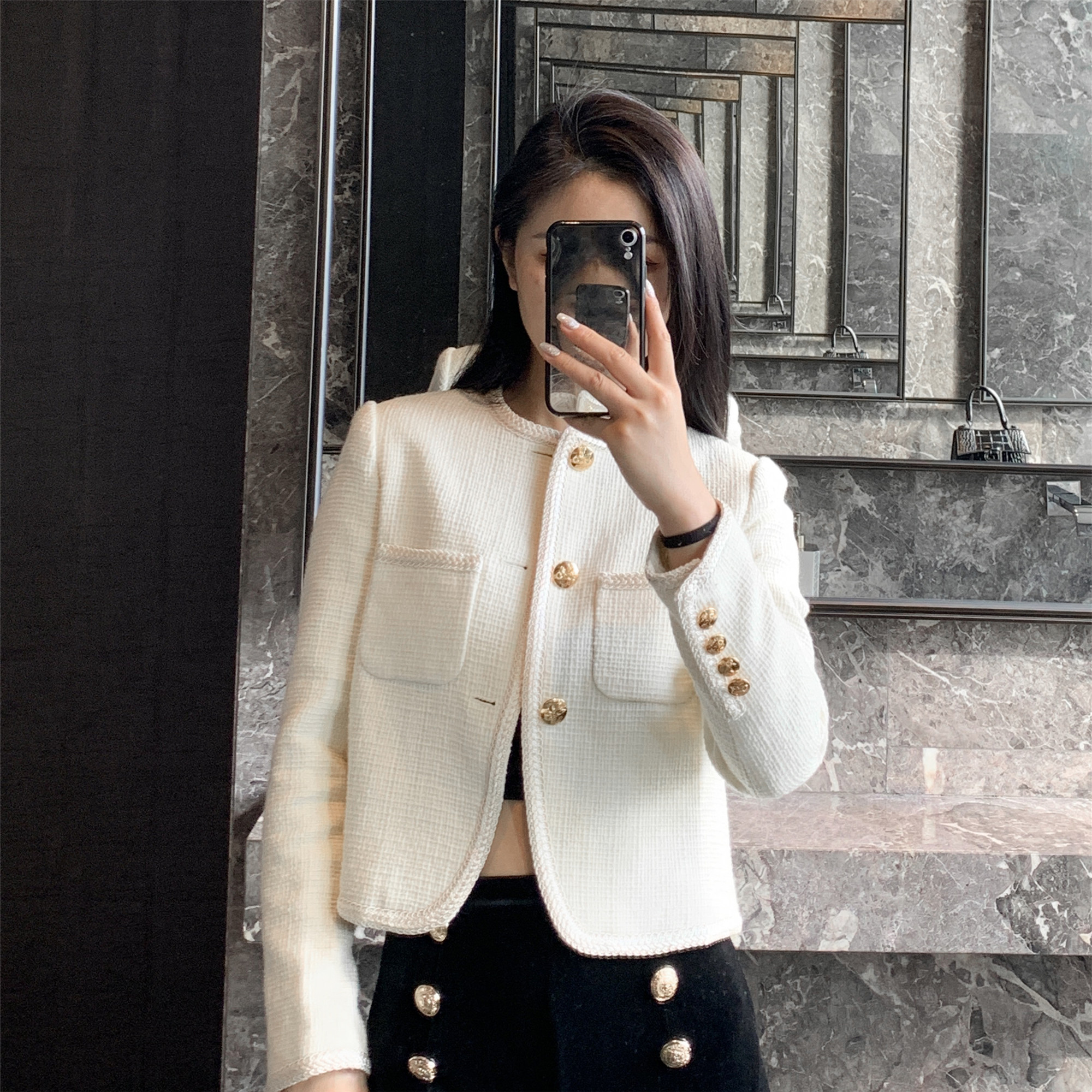 SANDRO TEAM2021 early spring French new high-end famous wool small fragrance cardigan short coat girl