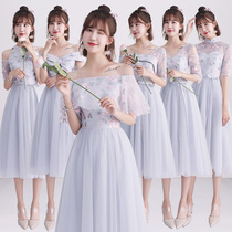 Bridesmaid dress long female 2018 new autumn Korean version of the gray bridesmaid skirt evening dress sister group slim wedding