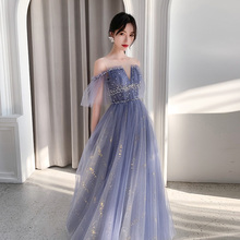 Banquet Evening Dress Female 2019 New Blue Shoulder Noble Temperament Star Birthday Performance Dress