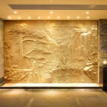 Professional custom artificial sandstone glass steel imitation copper relief background wall landscape figure sculpture relief decorative murals