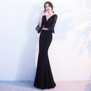 Black dress woman 2017 new party dress elegant long sexy skirt dignified atmosphere
