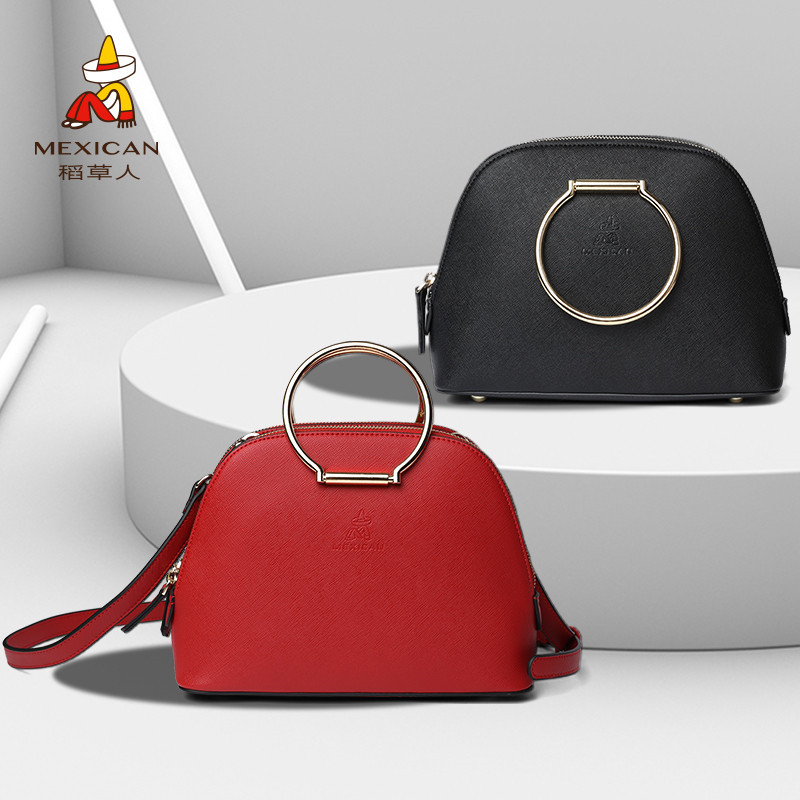 Scarecrow's new one-shoulder sloping hand-held round shell bag with new small bag chic Korean version