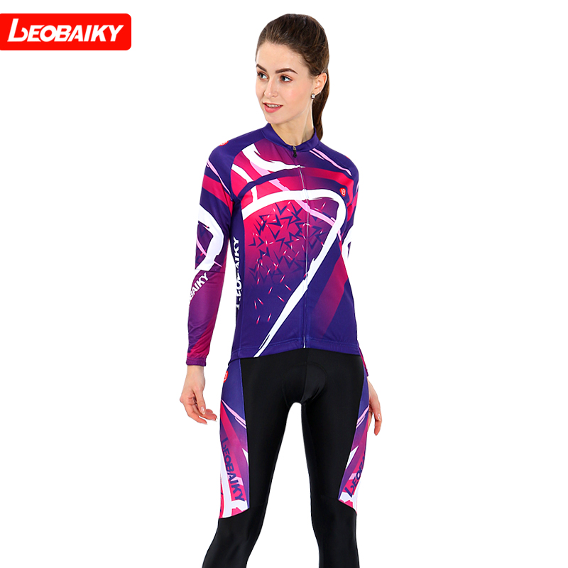 LEOBAIKY Symphony Long Sleeve Jersey Women's Long Sleeve Set Spring and Autumn Cycling Jersey Tops Trousers