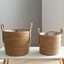 Nordique grande paille pot de fleur pot de fleur en rotin étage panier panier panier panier en rotin bambou pot de fleur jeu