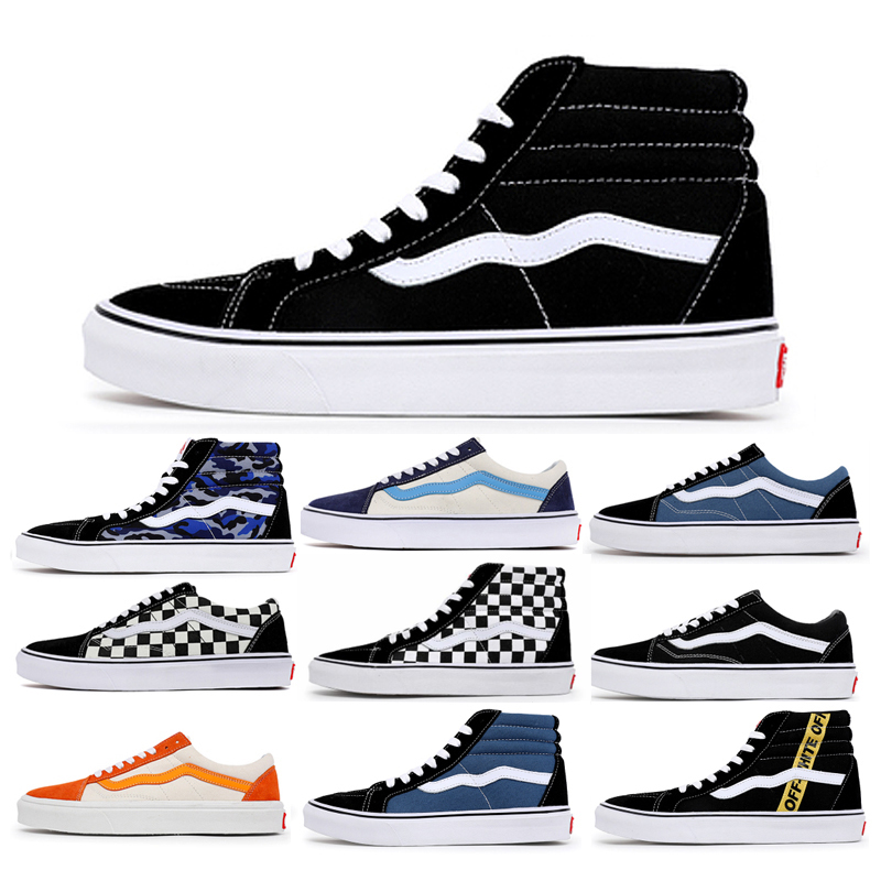 Genuine Vance official website high-top black and white women's shoes winter sk8-hi men's shoes classic couple canvas sneakers trendy shoes