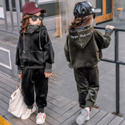 2017 new winter wear loose hooded Pullover Sweater suit for girls children jinsirong thickening suit