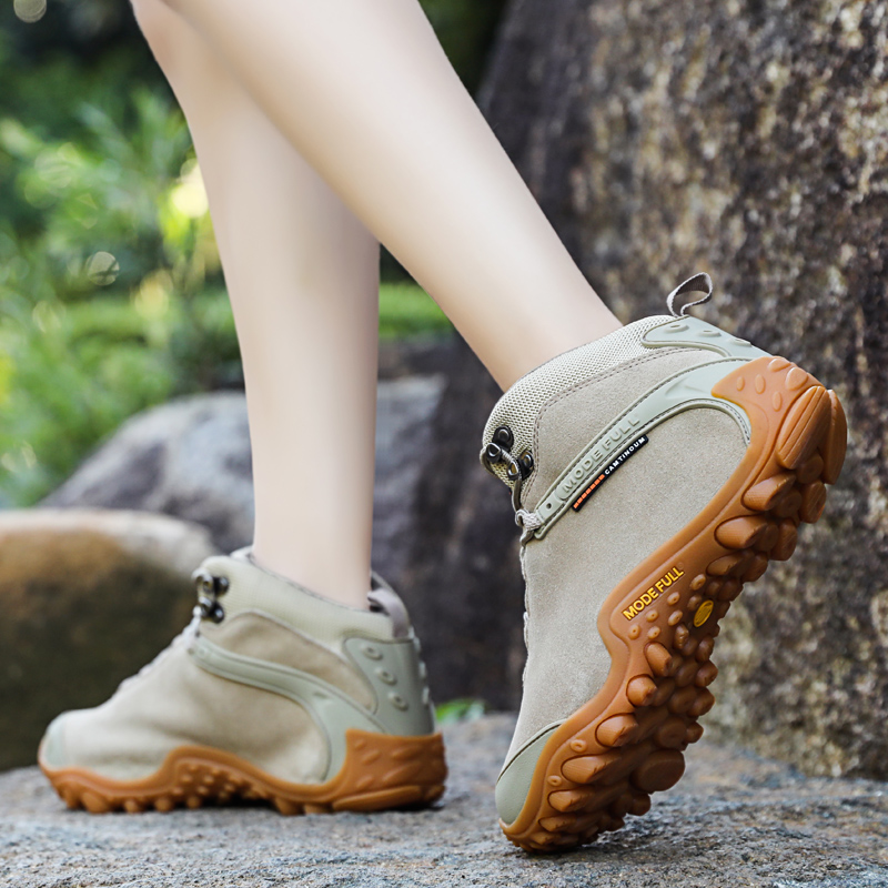 Off-road leather outdoor high-help climbing shoes lady waterproof anti-slip wear-resistant desert hiking shoes climbing shoes men