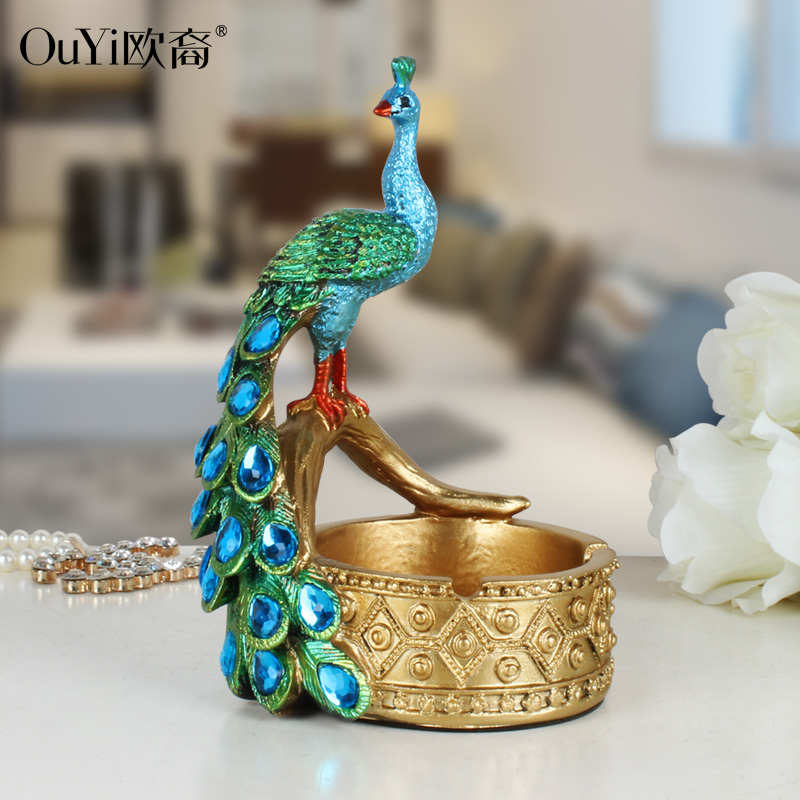 Resin Retro Creative Peacock Ashtray Disk Restaurant KTV Bar Shop European-style Big Size Birthday Gift
