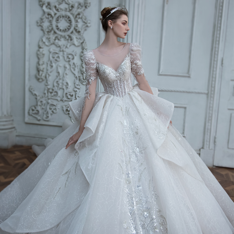 Long-sleeved wedding dress 2020 new bridal temperament Mori super fairy dream long tail show thin size autumn and winter model