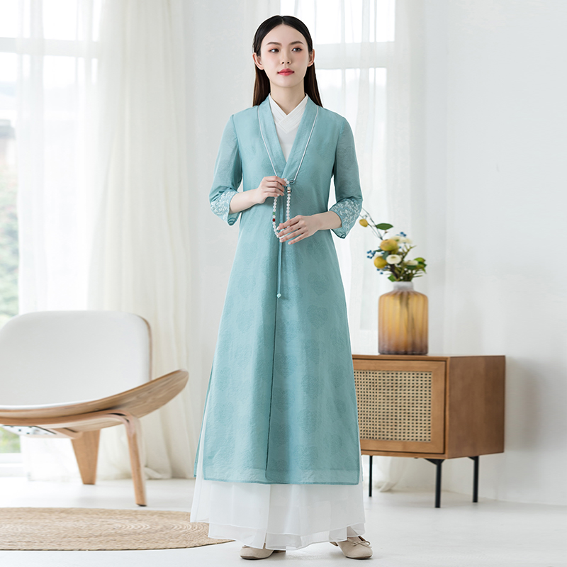 Tang clothing Chinese style Han clothing womens modern modified version of fairy summer ethnic Chinese Zen tea clothing top