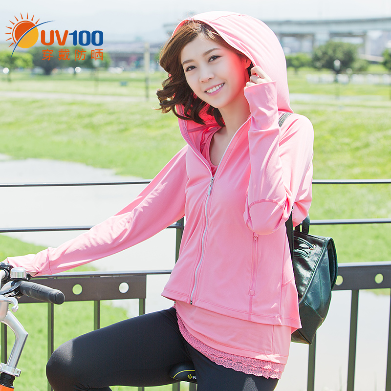 Taiwan UV100 mountaineering hooded sunscreen clothing ladies summer UV protection breathable outdoor sports windbreaker 71033