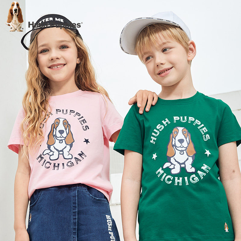 Hush Puppies children's short sleeve T-shirt 2020 summer new boys' Round Neck Shirt breathable cotton middle and big boys' top