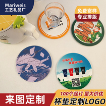 Cup pad custom PVC soft glue advertising cup custom-printed color pattern QR code silicone cup pad custom-made LOGO