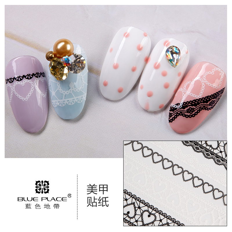 [The goods stop production and no stock]Nail Art Flower Sticker Nail Empty Sticker Nail Polish Glue DIY Sticker Nail Sticker 24 Black and White LC441-464