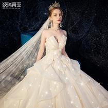 Французский бандо легкий основной свадебное платье 2019 новые невесты роскошь роскошь хвост звездное платье Мори супер фея мечта