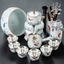Yude set of silver automatic kung fu tea set group home living room small set of stone grinding lazy anti-hot ceramic cup