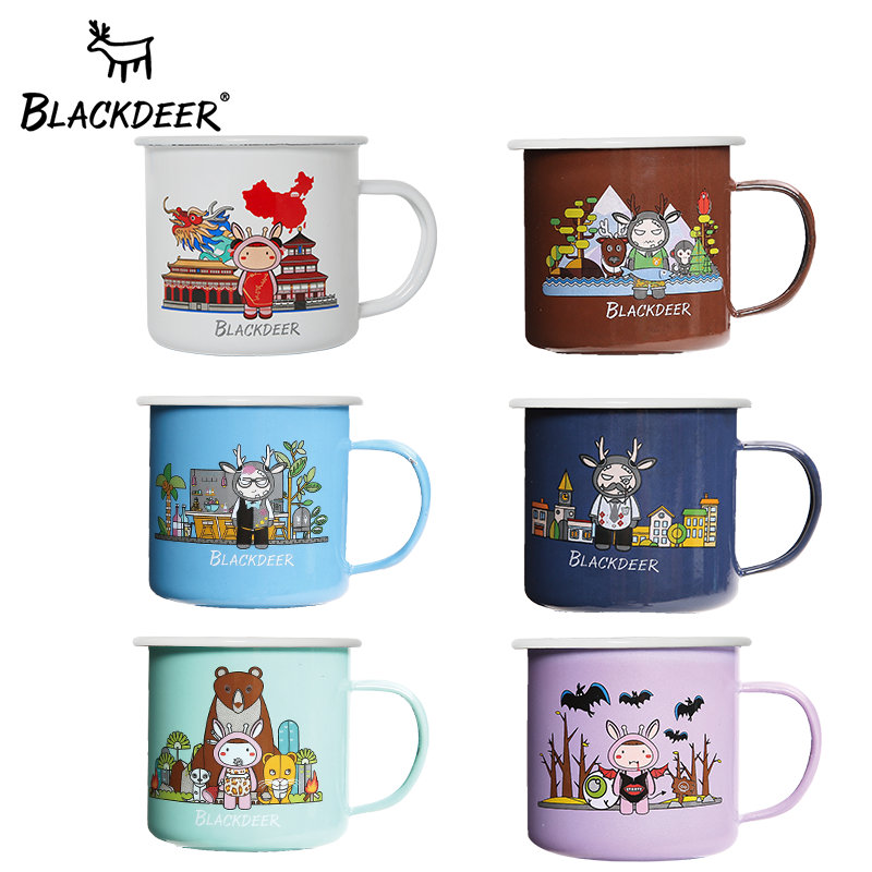 BLACKDEER Black Deer Outdoor Enamel Cup Classic Nostalgia Cup Teapot Picnic Cup Creative Drinking Set Cup