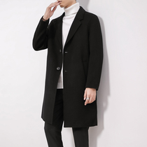Medium-length version of double-sided cashmere coat mens 2020 new Korean version of loose-fitting suit collar wool high-end coat winter dress