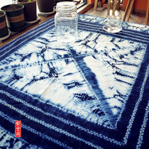 Dali tie-dye cloth plant blue dyed cotton eight immortals table square table cloth simple decorative hanging cloth 145×145cm