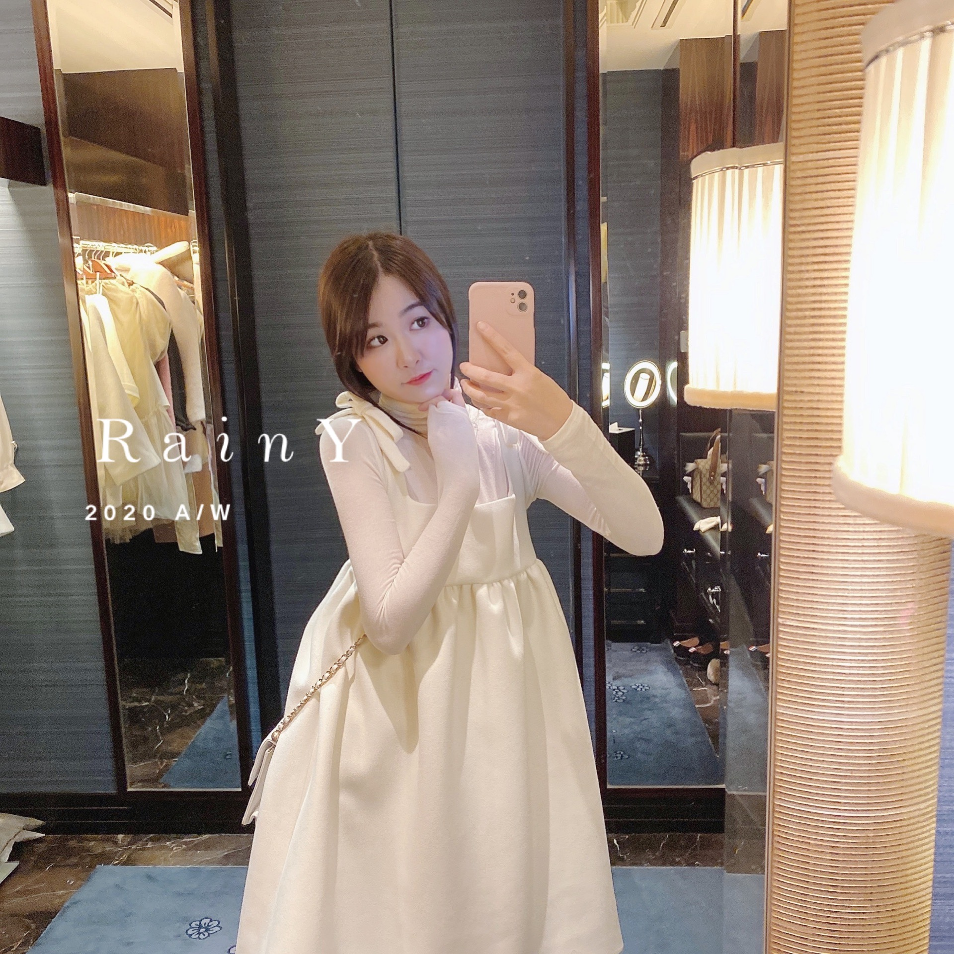 RainY. 2020 autumn and winter new French temperament skirt bottoming with white woolen dress women