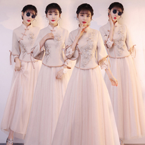 Bridesmaid uniform 2021 New Chinese bridesmaid group wedding girlfriends sister dress Chinese style long spring summer dress