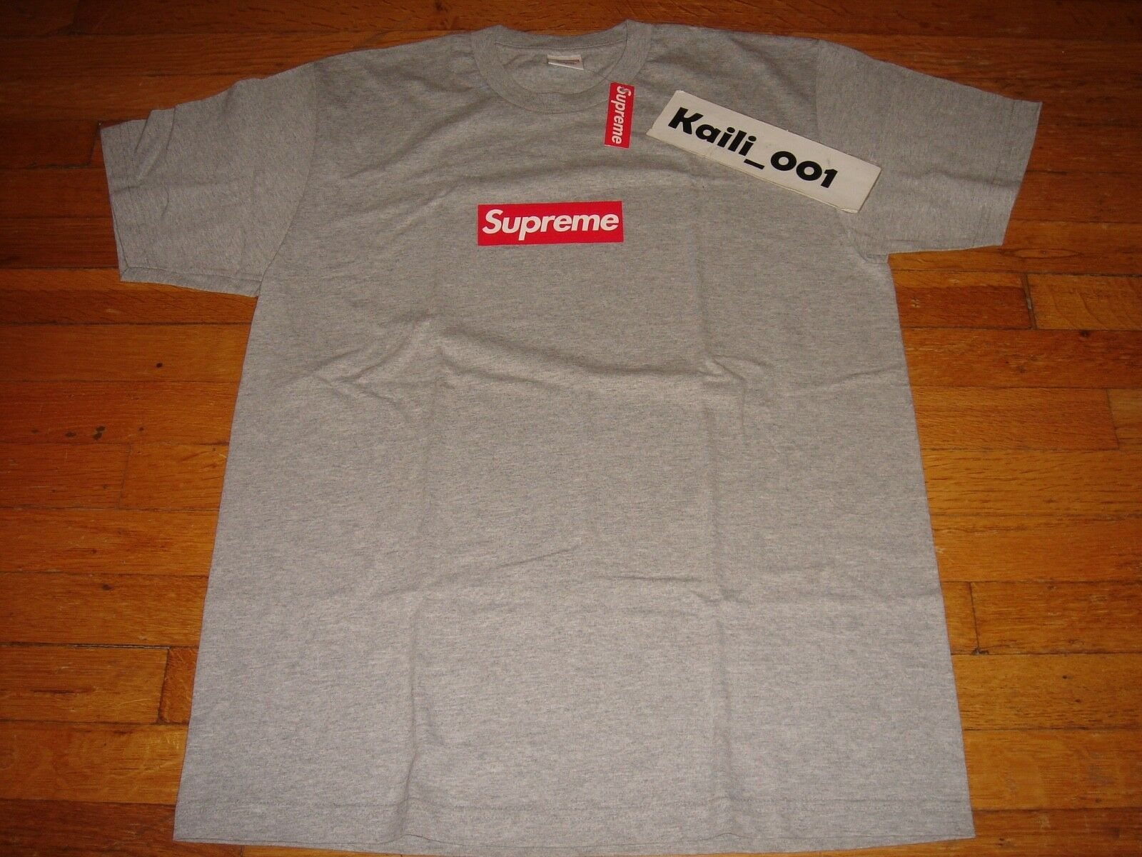Buy short sleeve supreme 20th anniversary gray t-shirt men's and women's summer trend bottoming shirt
