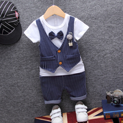 2017 Korean children Childrens Boys summer T-shirt suit baby suit vest dress tide