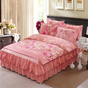 Every day special offer sanded bed skirt type bedspread four pieces 1.8m red wedding bedding quilt thickening