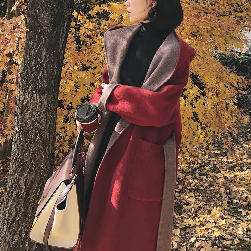 South Korea counters 2020 autumn winter new hooded matching double-sided cashmere coat womens high-end medium-length version of the fur coat