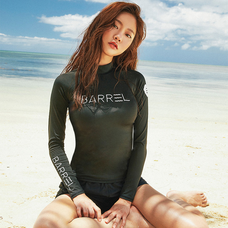South Korean split trousers long-sleeved swimsuit women sunscreen fast dry surf clothes mens wetsuit female couple jellyfish clothes show thin