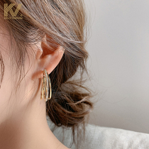 Old earrings women 2020 new temperament circle ear needle Korean exaggerated pure silver full diamond three-layer ear jewelry tide
