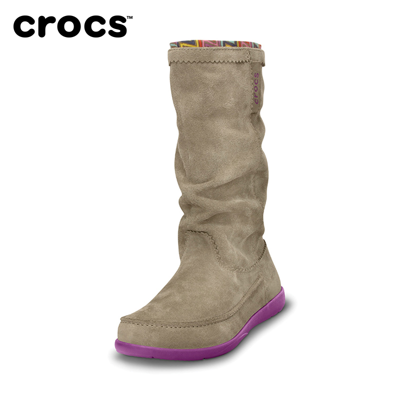 Crocs boots kaluochi outdoor Ariana suede female flat boots warm | 14685