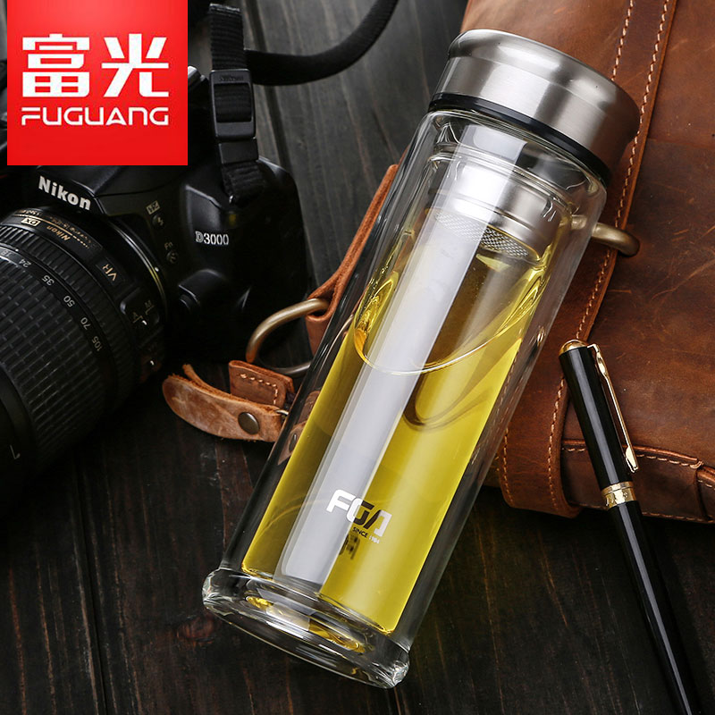 Fuguang glass double-layer portable filter cup with lid male and female creative office heat-resistant tea cup