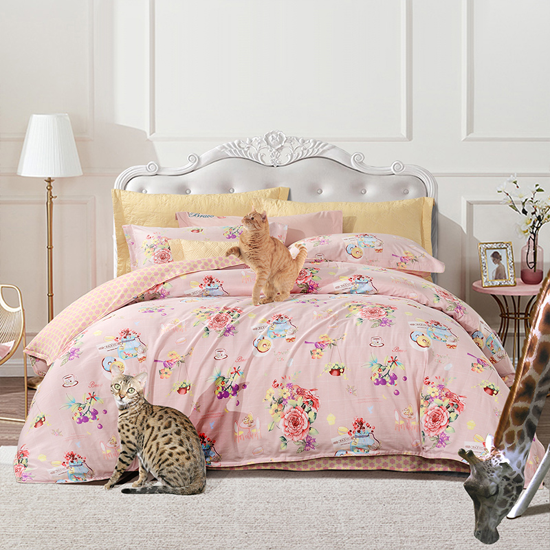 Fu Anna Home Textiles Xin Erle Summer Four-piece Set Cotton Pure Cotton Girl Heart Princess Style Sheet Duvet Cover Three-piece Set