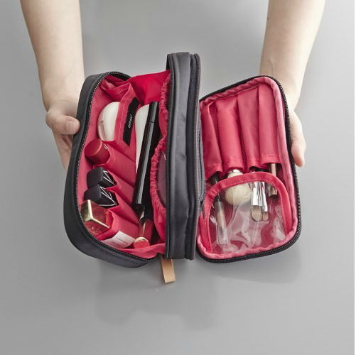 Travel cosmetics receipt bag large capacity carry-on double zipper soft bag lady portable trumpet hand double wash bag