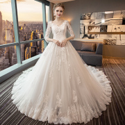 A wedding dress shoulder V collar skinny Princess code Qi 2017 new large tail wedding dress with long sleeves in winter