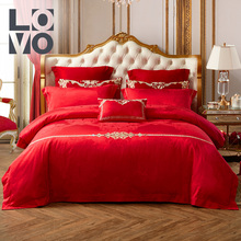 LOVO Home Textile Wedding Bed Bedding Wedding Dahong Embroidery Jacquard Wedding Six Sets Wedding Four Sets