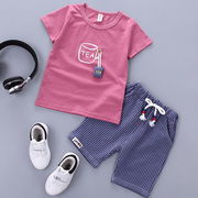 2017 Kids Summer boy short suit infant summer 1-2-3-4 years old baby Han Banchao shorts T-shirt
