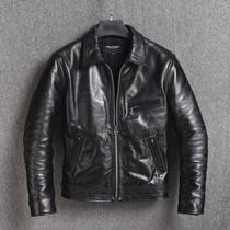 2019 new retro Japanese mens slim short light batik tree cream head layer horse leather jacket leather leather men