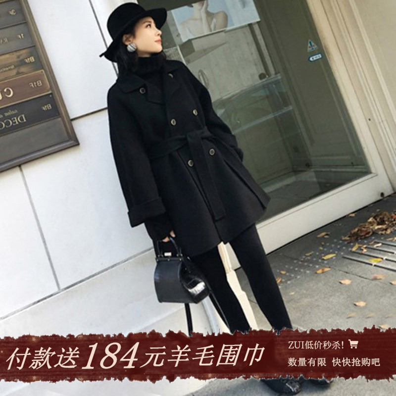Black double-sided cashmere coat womens short 2020 winter new cloak hair loose wool small coat girl