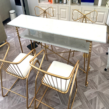 Nordic double deck manicure table and chair combination, single, double, three, marble, gold, manicure, minimalist modern.