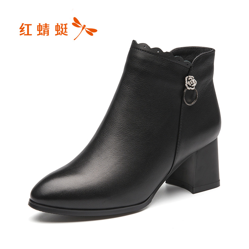 Red 蜻蜓 women's shoes 2018 winter new fashion simple leather women's boots plus velvet thick with round head comfortable booties