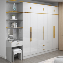 Light luxury wardrobe with a top cabinet Simple modern economical plate type white combination side cabinet Wooden six-five-door large wardrobe