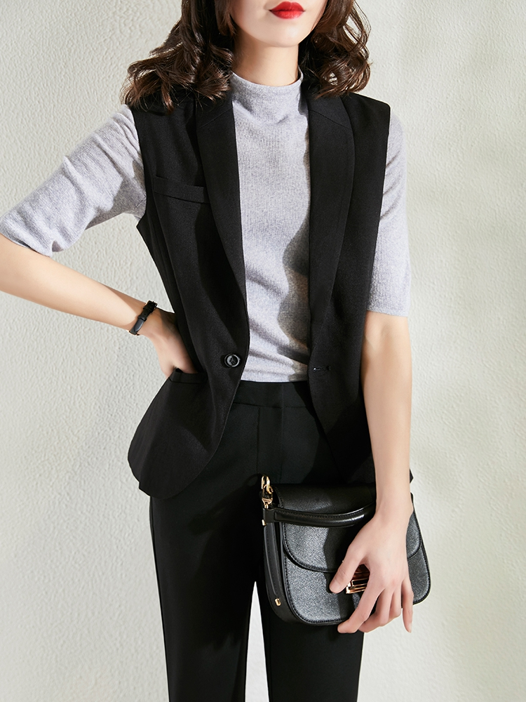 Black suit vest women 2021 spring and autumn new wild one button solid color linen sleeveless jacket worn outside the horse clip
